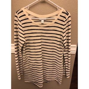Maternity Tunic Top, Navy and Cream Striped
